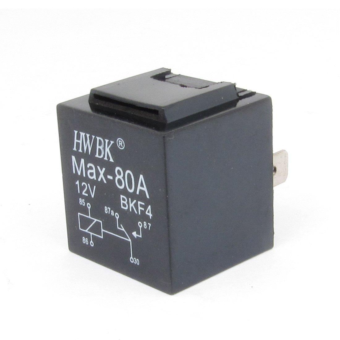 uxcell® Black Plastic 5P 80A 12V Alarm Relay for Auto Car