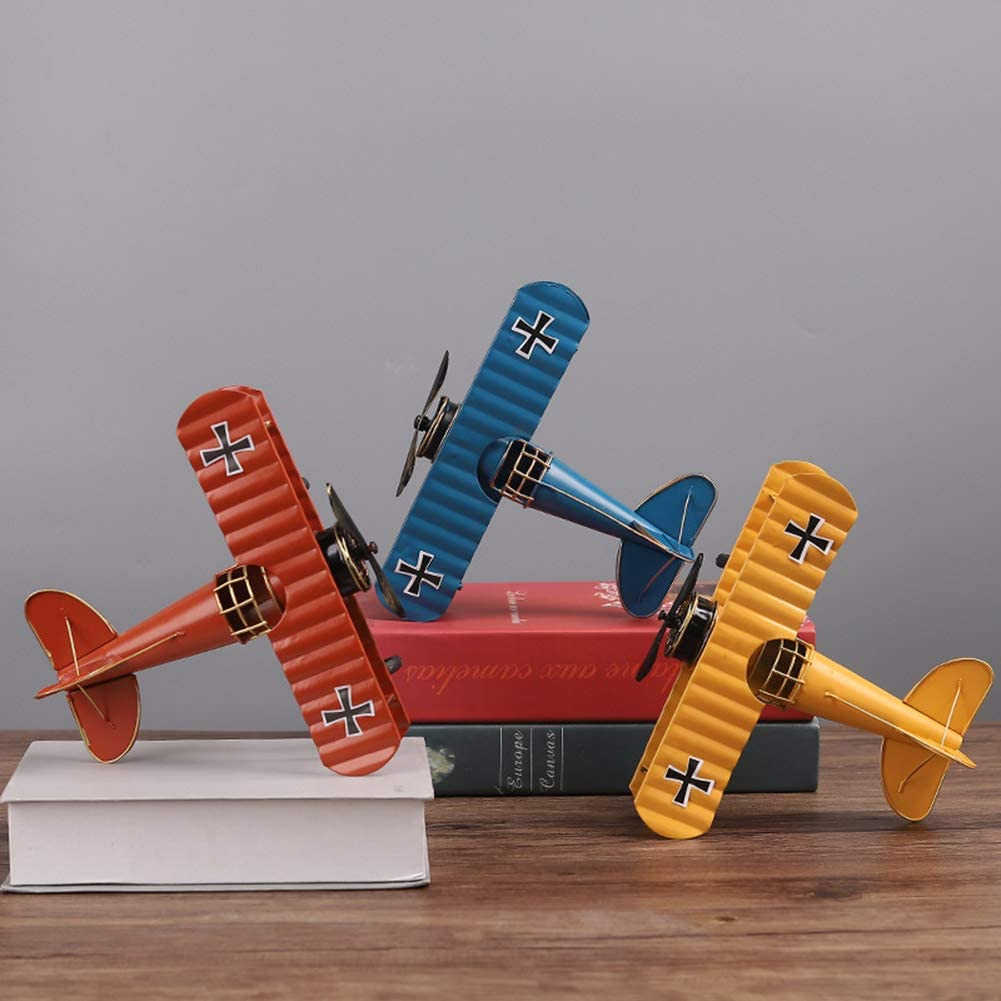 Decoraci/ón De Mesa para Oficina En El Hogar CJMING Manualidades De Aviones De Metal Planeador De Biplano De Hierro De Metal Vintage Modelo De Avi/ón De Avi/ón Retro Regalos para Ni/ños