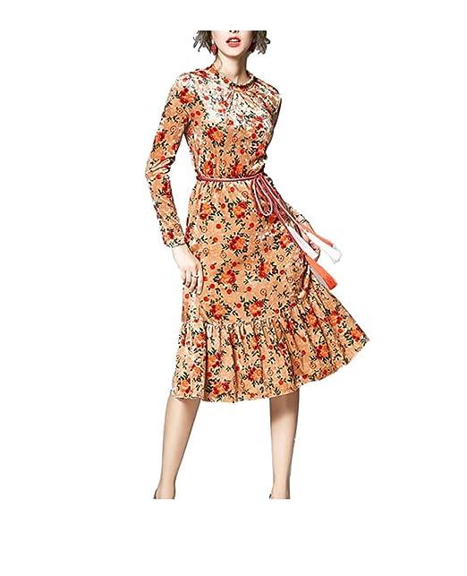 FuweiEncore Vestido Mujer Largo Mangas Estampado Floral Vestido Elegante Cola de Pez Terciopelo Dorado de Fiesta: Amazon.es: Ropa y accesorios