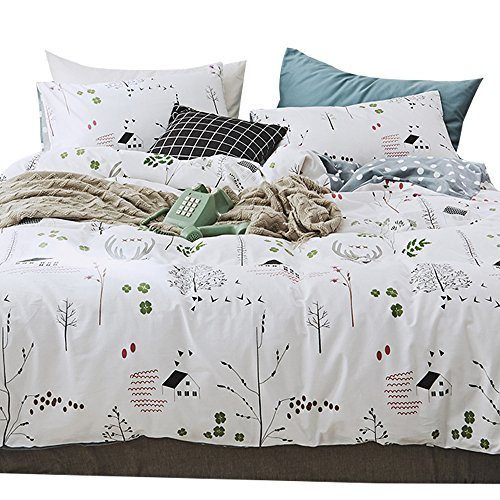 OTOB 3 Piece Kids Twin Bedding Sets for Girls Boys Cartoon Deer Print Elk Duvet Cover Set with Pillowcases 100% Cotton Reversible Lightweight Soft Child Dot Bedding Duvet Cover by OTOB