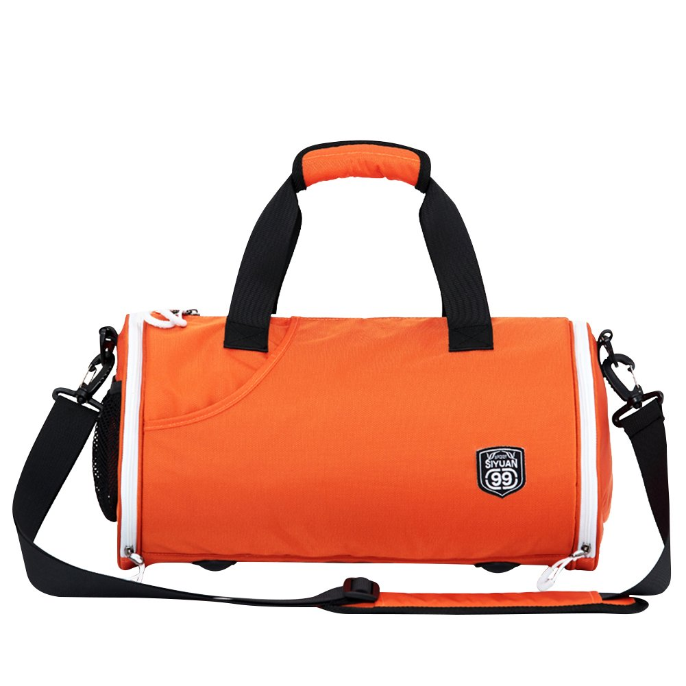 Siyuanスポーツダッフルバッグ、防水折りたたみ式ラウンドジムバッグwith Shoeコンパートメント B07B4R8VRK Large オレンジ オレンジ Large