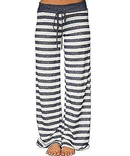 Elsofer Striped Comfy Maternity Pregnancy Postpartum Pajamas for Women Soft Stretch Palazzo Pj Pjs Pajama Lounge Pants (Tag S (US 4), Grey Striped)