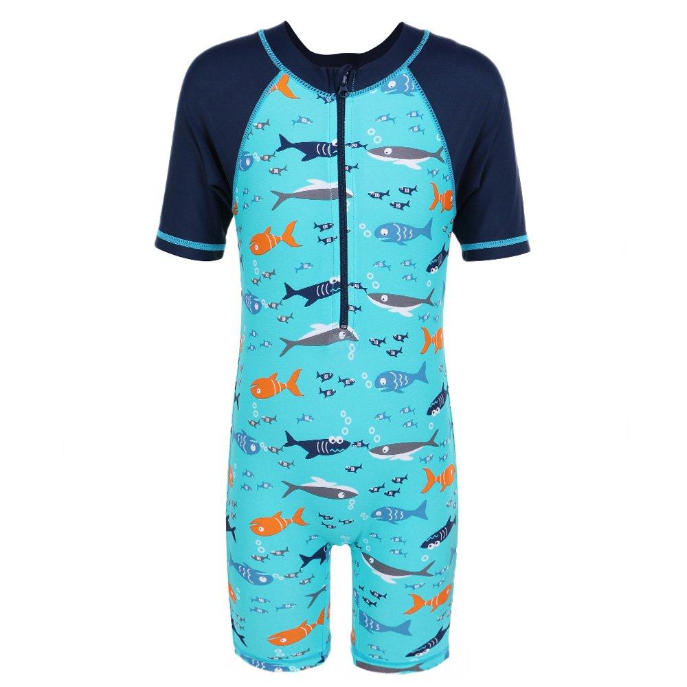 TFJH Kids Boys Swimsuit UPF 50+ UV Sun Protective One-Piece Shark Fish 3-10Years