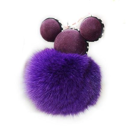 Bola de pelo de conejo ratón de peluche llavero coche o ...