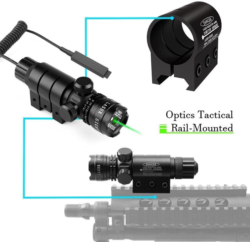 Hunting Green Laser Sight Rifle Dot Scope+Switch+Picatinny Rail+Barrel Mounts