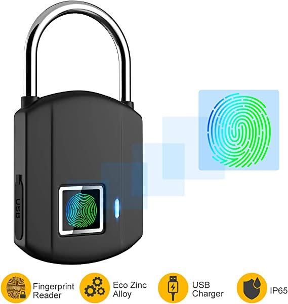 Fingerprint Padlock, IP65 Waterproof Smart Lock keyless Digital ...