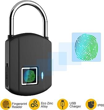 Cerradura Candado biométrico de huellas digitales Inteligente USB Carga para bolsa de puerta sin llave de seguridad