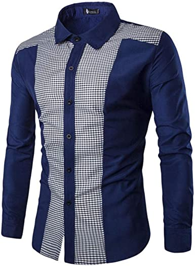 Loeay Camisas de Manga Larga para Hombre Oxford Plaid Patchwork Trajes Casuales Formales Slim Fit tee Dress Shirts Blusa Homme Tops: Amazon.es: Ropa y accesorios