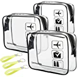 3pcs Lermende TSA Approved Toiletry Bag with Zipper Travel Luggage Pouch Carry On Clear Airport Airline Compliant Bag…