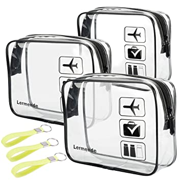 2pcs//pack Lermende Clear Toiletry Bag TSA Approved Travel Carry On Airport Airline Quart Sized 3-1-1 Compliant Bag Make-up Pouch Kit