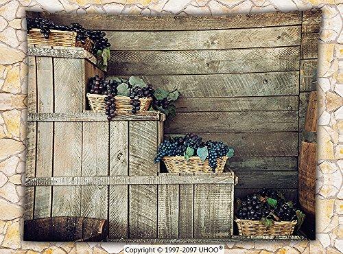 Grapes Home Decor Fleece Throw Blanket Various in Wooden Wicker Basket Ivy Viniculture Gourmet Organic Photo Throw Brown Purple