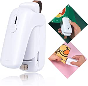 Bag Sealer, Mini Portable Handheld Heat Sealer, Reseal Kitchen Sealing Machine for Chip Bags, Plastic Food Bags, Snack & Cereal Bags, White (Battery Included)