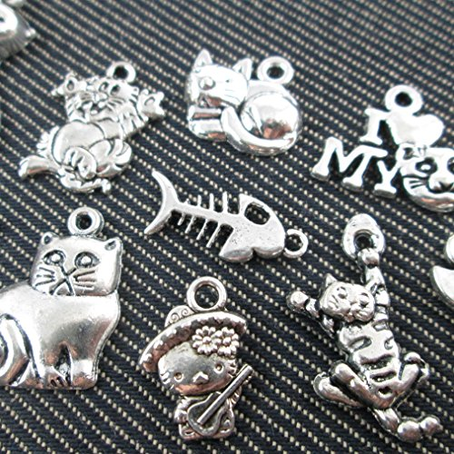 Kitty Loves Fish - 10 Mixed Tibetan Silver Plated Animals Fish Bone Love Cat Charms Pendants Jewelry Making Diy Handmade Crafts (NS516 M014)