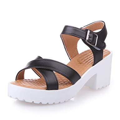 Summer Rough Sandals Woman Open Toe Fish Mouth High Heel Outdoor Platform Shoes