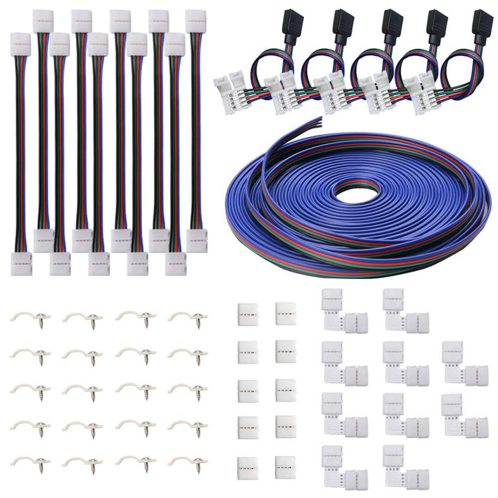 FICBOX 5050 4Pin LED Strip Connector Kit - 32.8FT/10M RGB Extension Cable, Strip to Strip Jumpers, Strip to RGB Controller & Adapter Jumpers, L Shape & Gapless Connectors, LED Strip Fixing Clips