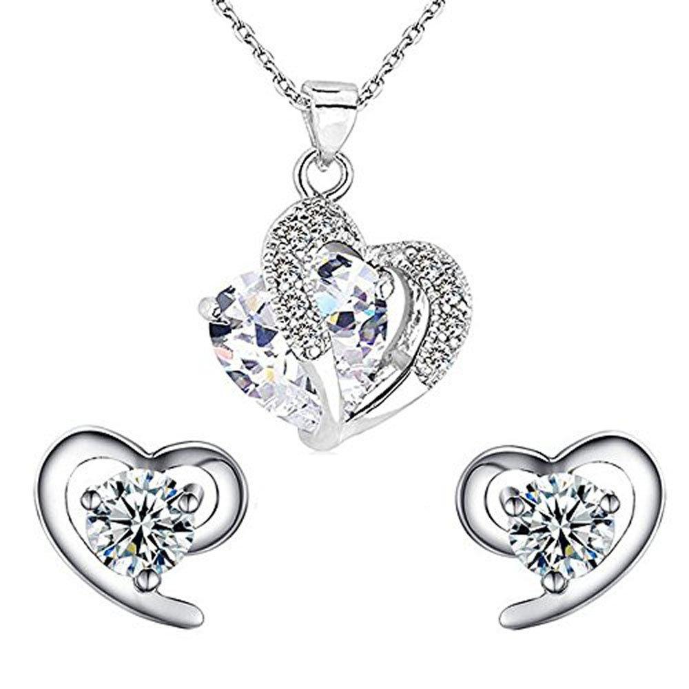 findout Damen Amethyst rot, rosa, blau weiß Kristall-Herz Silber Anhänger Halskette + Ohrring, für Frauen, Mädchen. für Frauen Mädchen. (Amethyst Set) 497