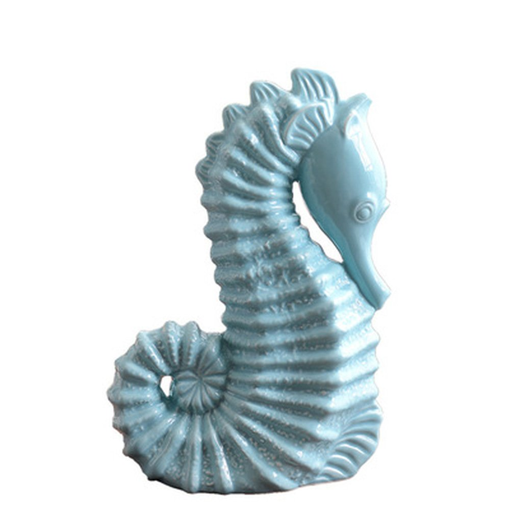 BWLZSP 1 Pair Mediterranean Ceramics Ornaments Marine Animals Blue Seahorses Home furnishings Decorations and Decorations LU621240 by BWLZSP (Image #1)