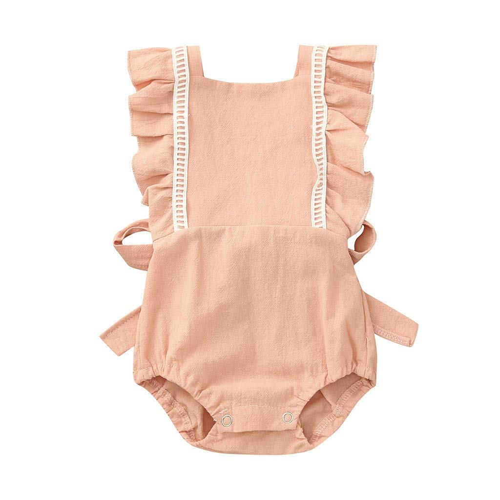 Yaseking Toddler Baby Girl Solid Color Cotton Ruffled Collar Sleeveless Romper Jumpsuit Bodysuit Clothes