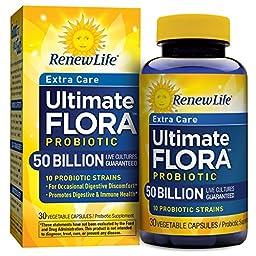 Renew Life Extra Care Probiotic, Ultimate Flora, 50 Billion, 30 Capsules