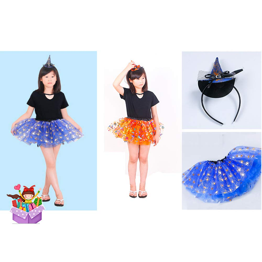 K-youth Falda para Niñas Vestidos Niña Falda de Tutu de la Mascarada  Infantil de Halloween de Baile Niñas Ropa de Vestido Tutú Faldas con  Diadema(Azul 0c22f7be5685