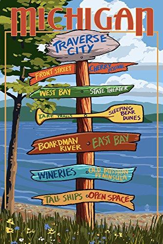 Traverse City, Michigan - Sign Destinations (12x18 Art Print, Wall Decor Travel Poster)