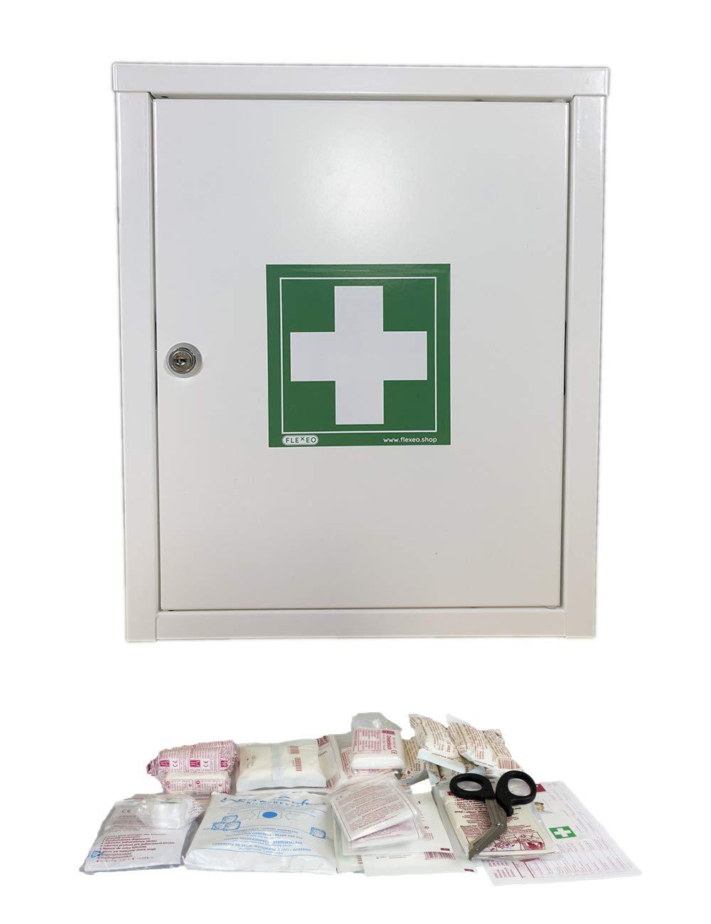 FLEXEO Erste-Hilfe-Schrank mit Füllung nach DIN 13157, abschließbar, abschließbar, abschließbar, aus Metall, zur Wandmontage f0cc4e