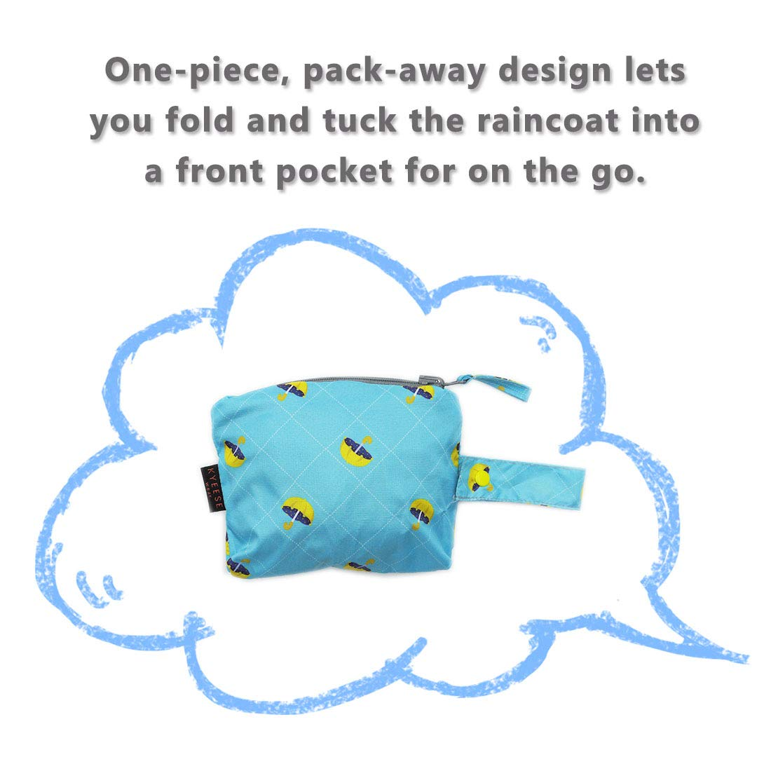 kyeese Dog Raincoat Waterproof Reflective Dog Rain Poncho with Hood Lightweight Packable Dog Slicker Raincoats with Zip Pocket