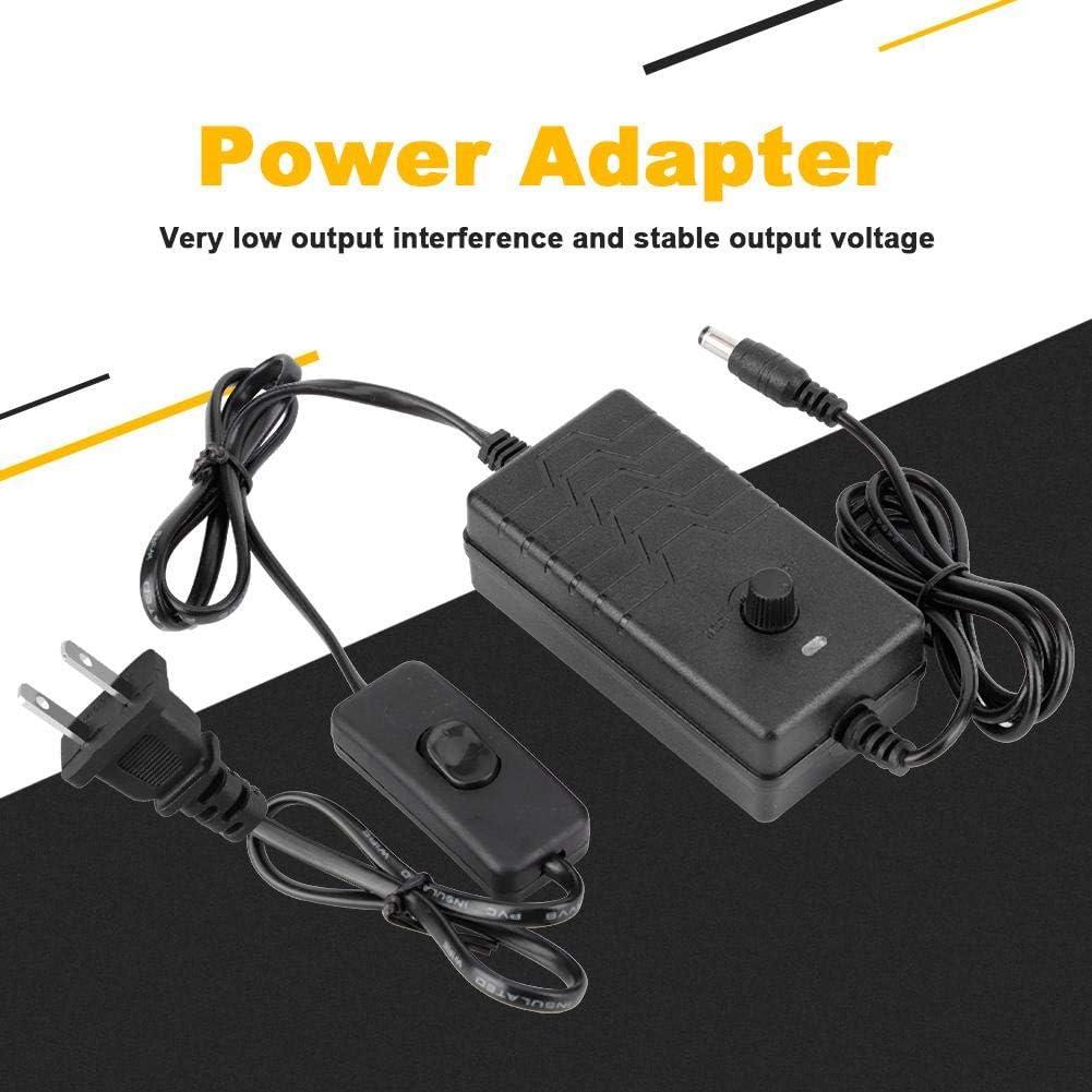EU Duokon Robuster 24V-36V 2A Netzteiladapter mit Einstellbarer Spannung und Schalter zur Steuerung des DC-LED-L/üfters