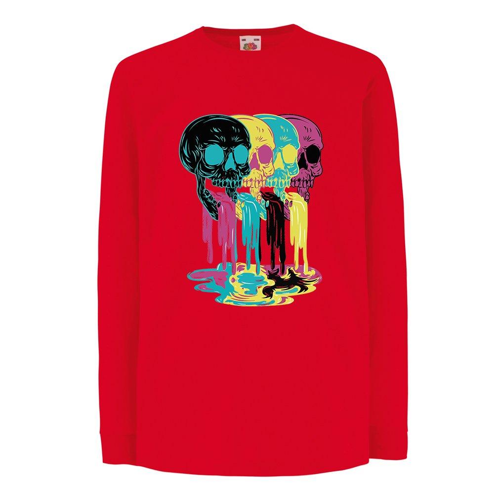 lepni.me Kids T-Shirt Black Yellow Green Red Skull Pattern top Funny Gifts idea