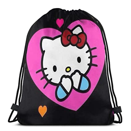 24ee916f6 Amazon.com: MPJTJGWZ Classic Drawstring Bag-Hello Kitty Gym Backpack  Shoulder Bags Sport Storage Bag for Man Women: Home & Kitchen