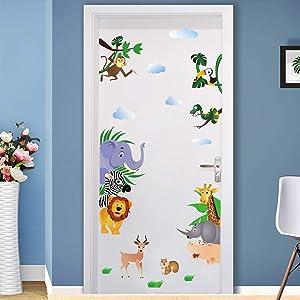 Runtoo Cute Animals Wall Door Decals Monkey Giraffe Elephant Wall Stickers Kids Room Decoration Baby Nursery Wall Décor