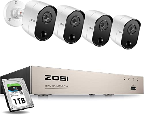 ZOSI 1080P Security Camera System with 1TB Hard Drive 4CH 1080P HD Video DVR Recorder with 4pcs HD 1920TVL 1080P Indoor Outdoor Home Surveillance Cameras with PIR Motion Sensor Detection