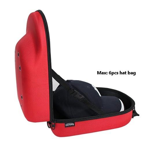 91ca658c1e1 Amazon.com - Galexbit Baseball Hat case Cap Carrier Case Holder for 6 Caps  Hat bag for Travel (Red) -