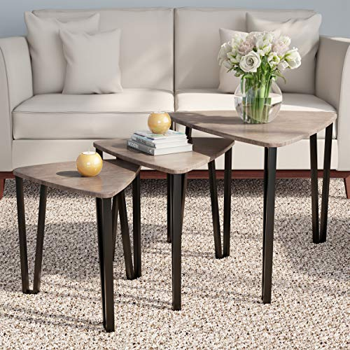 Home 80-FNT-6 Lavish Nesting Set of 3, Modern Woodgrain Look for Living Room Coffee Tables or Nightstands-Contemporary Accent Decor Furniture