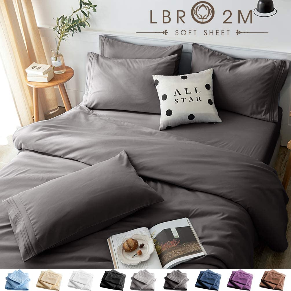 LBRO2M Bed Sheets Set Queen Size 6 Piece 16 Inches Deep Pocket 1800 Thread Count 100% Microfiber Sheet,Bedding Super Soft Hypoallergenic Breathable,Resistant Fade Wrinkle Cool Warm (Dark Grey)