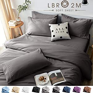 LBRO2M Bed Sheets Set Full Size 6 Piece 16 Inches Deep Pocket 1800 Thread Count 100% Microfiber Sheet,Bedding Super Soft Hypoallergenic Breathable,Resistant Fade Wrinkle Cool Warm (Dark Grey)