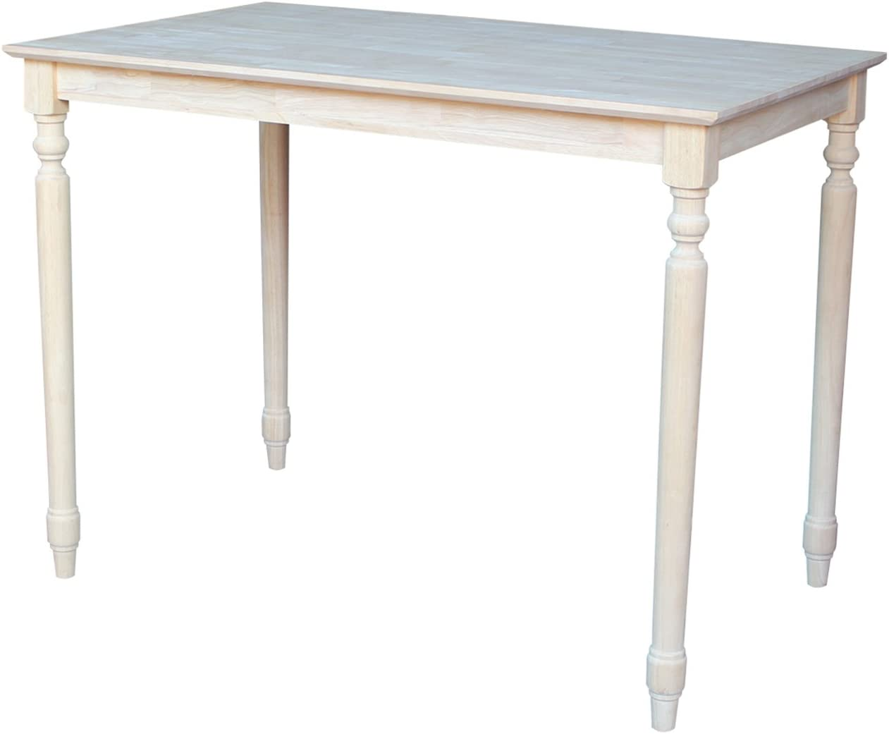 International Concepts Table Top Solid with Wood Counter Height Turned Legs, 30 by 48-Inch, Unfinished