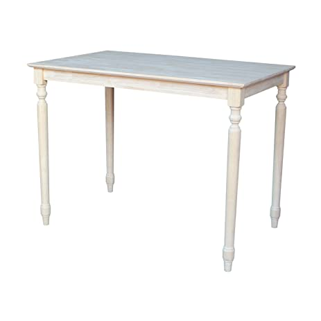 Elegant International Concepts Table Top Solid With Wood Counter Height Turned  Legs, 30 By 48