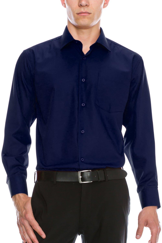 Mens Fashion Fit Regular Fit Dress Shirt 19-19.5N-36/37S (3XL) Navy Shirt