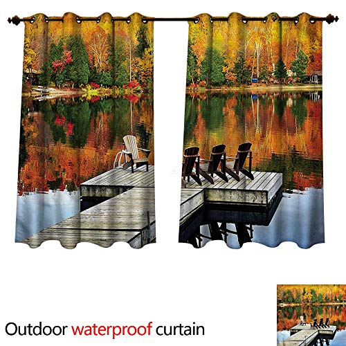 cobeDecor Landscape Outdoor Curtain for Patio Chairs on Wooden Dock W96 x L72(245cm x 183cm)