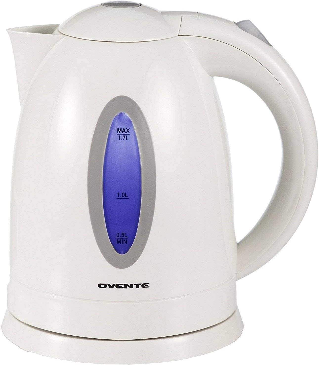 Ovente Electric Hot Water Kettle 1.7 Liter with LED Light, 1100 Watt BPA-Free Portable Tea Maker Fast Heating Element with Auto Shut-Off and Boil Dry Protection, Brew Coffee & Beverage, White KP72W: Electric Water Kettle: Kitchen & Dining