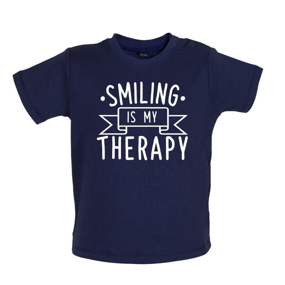 Ages 3-24 Months Dressdown Smiling is My Therapy 8 Colours Baby//Toddler T-Shirt