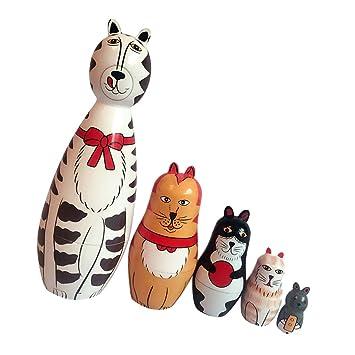 5pcs Pintado A Mano Gatos Animales De Madera Muñecas Rusas: Amazon.es: Juguetes y juegos