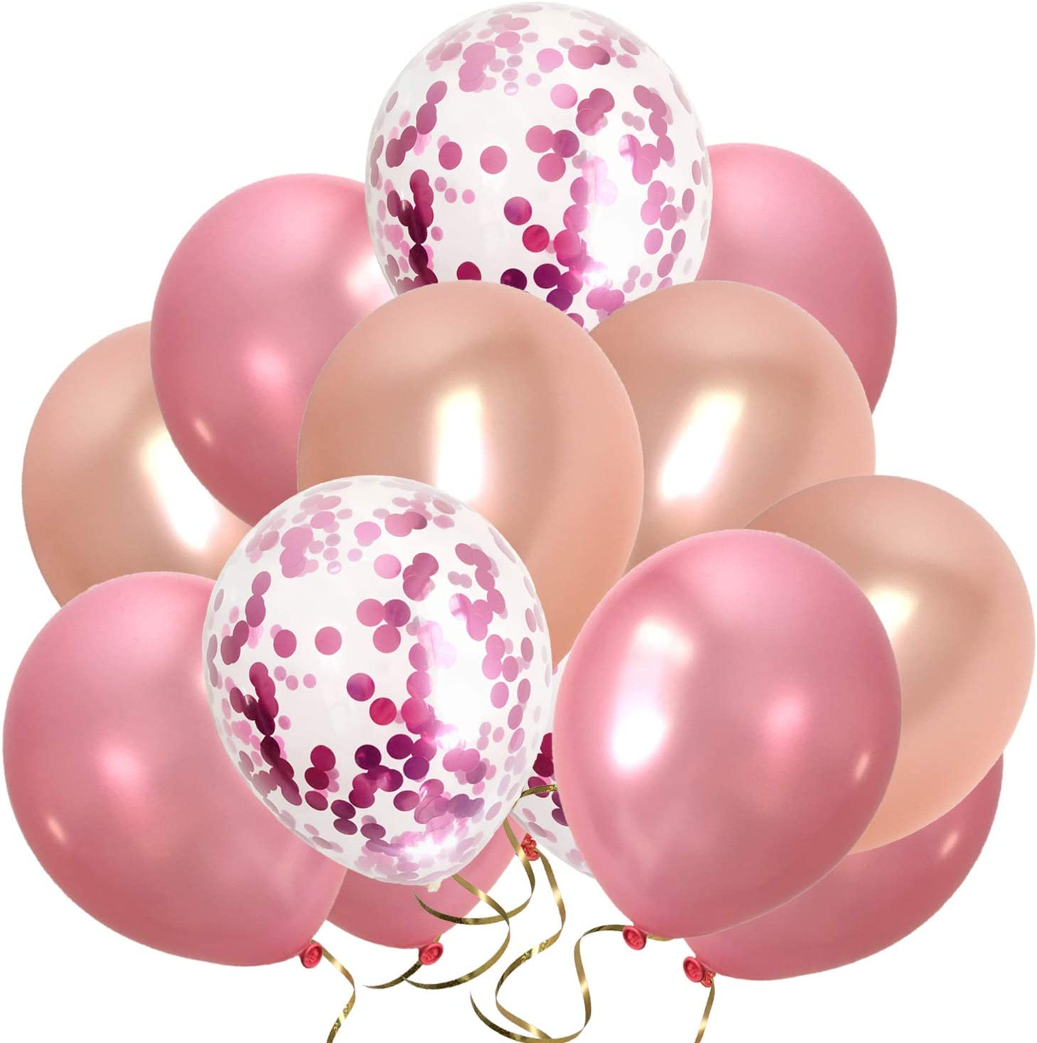 Amazon Com Rose Gold Pink Balloons Metallic Hot Pink Confetti Balloons For Valentine S Day Bridal Shower Women Birthday Party Decorations 80packs 12inch Rose Pink Gold Toys Games