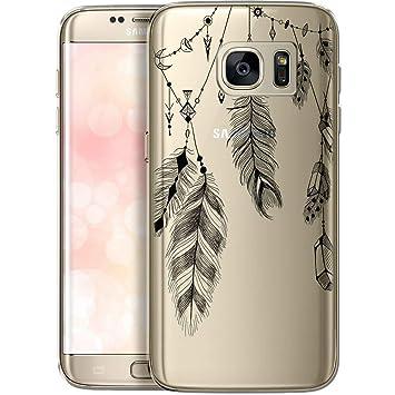 OOH!COLOR Funda para teléfono móvil Funda de Silicona para Samsung Galaxy S7 Funda móvil Funda Parachoques Transparente con Motivo Primavera