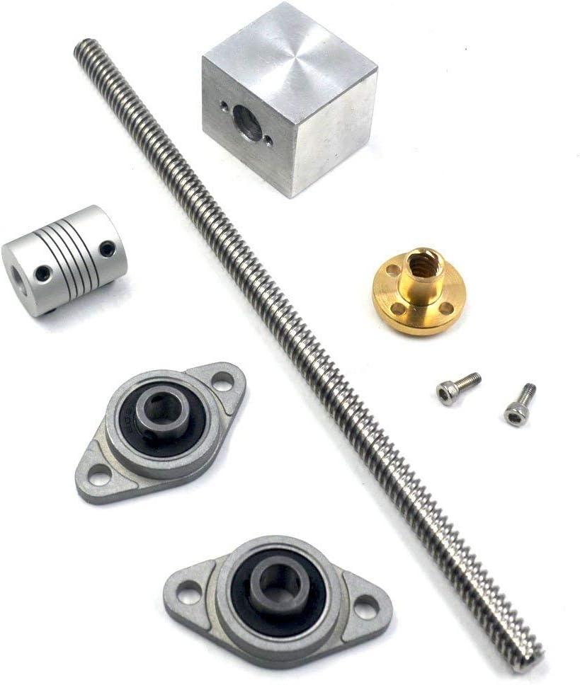 Semoic 1Set 200mm Length 8mm Dia Silver Vertical 2mm Lead Screw Rod /& Pillow Block Mounted Bearing T8 Lead Screw Kit for 3D Printer