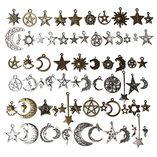 EUBags 73 PCS Celestial Mixed Sun Moon Star Pendant Charms Antique Alloy DIY Charms For Necklace Bracelet Jewelry Making And Crafting