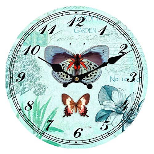 Upuptop 16inch Quiet Vintage Style Colorful Wooden Decorative Round Wall Clock Garden Blue Butterfly For Sale