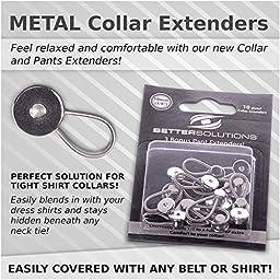 Better Solutions 10 Metal Spring Shirt Collar Extenders - 3 BONUS Pants Waist Extenders