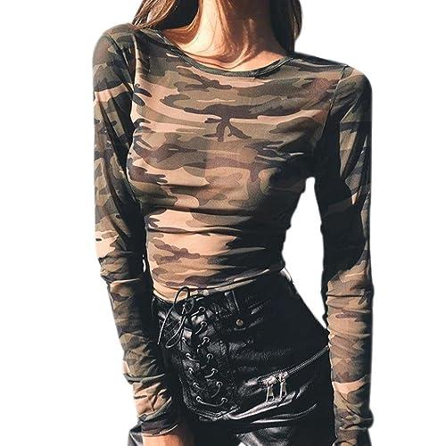 Mujer camisa de manga larga, Yannerr ocio moda otoño Tops camuflaje blusa